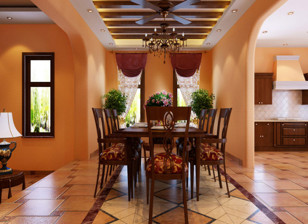 古典的吊扇装饰灯具,小木梁造型装饰吊顶是美式乡村更回味。