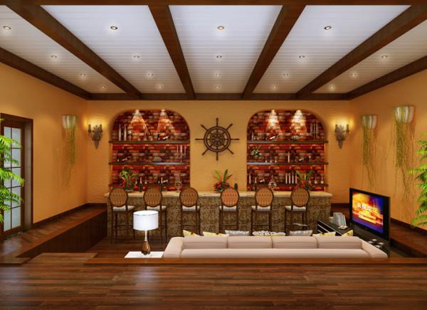 装饰砖砌的原味的砖墙装饰酒柜,吧台具有的情趣,真正的壁炉多有味道。