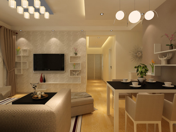 电视背景墙采用的是壁纸加隔断的处理方式,朴实的地板、素雅的墙漆、舒适雅致的家具,使这个家充满了浓郁的温馨气息。