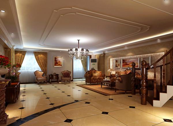 双层的石膏小线框素了大客厅顶子的空旷,实木楼梯豪华的木框沙发同样石材罗马柱沙发墙稳重气势之美。