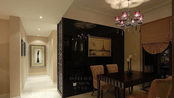 时尚雅致 富裕简欧型公寓 简欧风格,三居室装修,富裕型装修,欧式风格,简约风格,餐厅,简洁,大气,灯具,餐桌,窗帘,餐厅背景墙