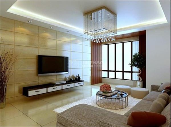 客厅:电视背景墙光滑没有多余的点缀,茶几独特,水晶灯较高贵典雅,沙发的搭配更是将整个客厅引向了高潮。