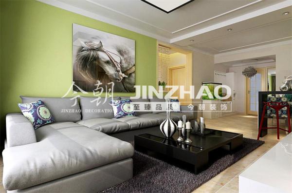 看似大相径庭的装修,在合理的布局之后,定了浅灰和浅绿的搭配,电视墙比较偏,没有选择特定的造型,而是选择了颜色拼接,使整个空间恬静淡然的同时又增添了一点小小的情调