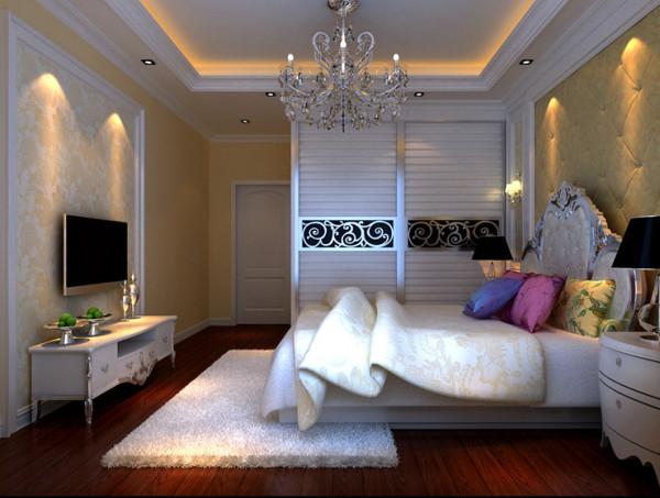 锦艺国际120平二期三室两厅一厨一卫装修案例,主卧室装修效果图