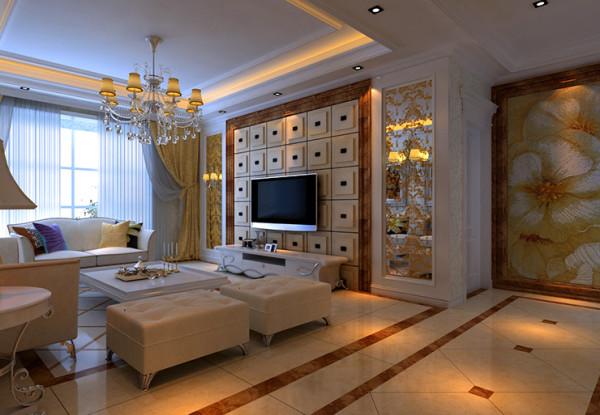 锦艺国际2期三室两厅120平装修案例,客厅装修效果图