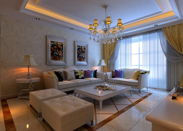 锦艺国际2期三室两厅120平装修案例,沙发背景墙效果图