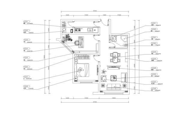 入门接触第一个空间是走廊,入目是客厅与餐厅,左手边为厨房,穿过厨房就是阳台,去往客厅空间所经过的左手边为次卧空间,右手边为卫生间,再向前右手边为主卧空间。