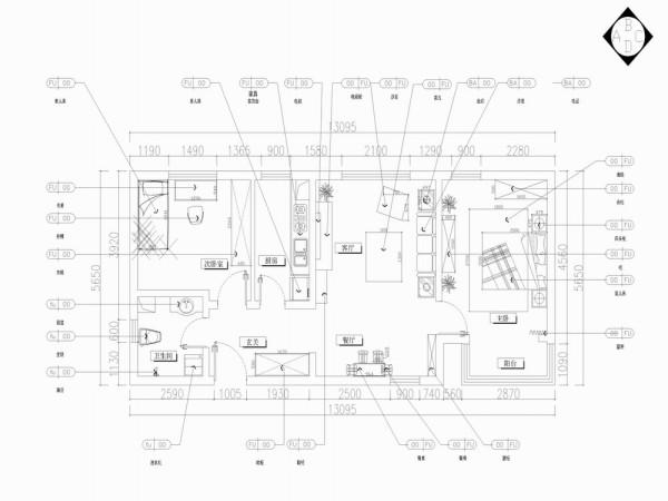 该户型沽上江南三期高层19号楼标准层D户型2室2厅1卫1厨 89.22㎡。我设计的是一套地中海风格的作品。地中海的建筑特色是, 拱门和半拱门。