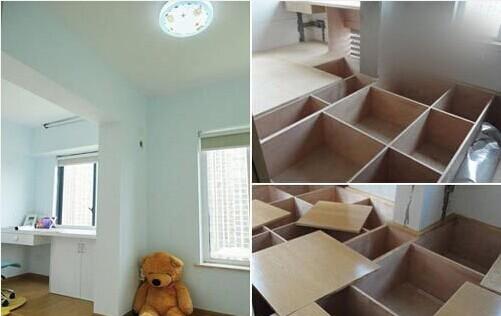 设计师建议:书房和客卧设计成榻榻米形式,抬高40cm,下面做成储物格,这样可以增加很多的储物空间。