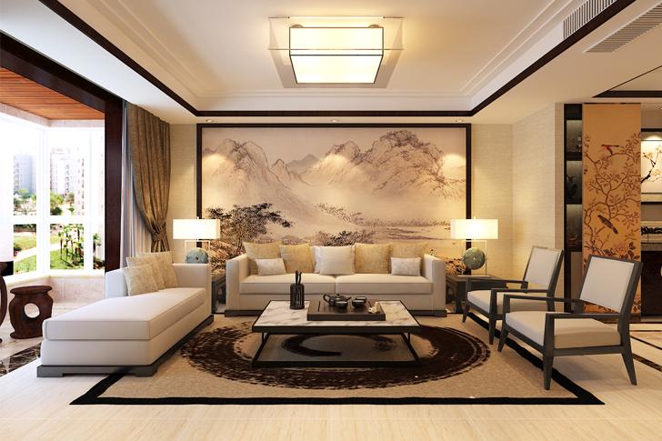 新中式 三居 客厅 卧室 厨房图片来自石家庄业之峰装饰在格调春天188平米新中式风格装修的分享