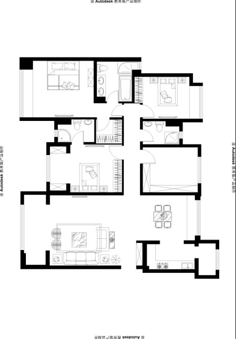 实创装饰 欧式风格 4居室 整体家装 大户型装修 户型图图片来自北京实创装饰在香悦四季160平米欧式风格4居室的分享