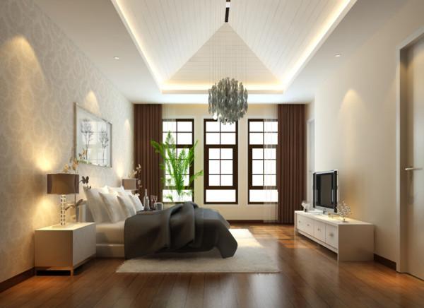 充分利用空间的原始结构,通过各种交流互通设计,塑造出精致的休息空间。采用锥形吊顶,做到漏而可望又满足了卧室高度的需要,另一方突破了传统卧室布局的呆板框架,采用了分隔与沟通的统一的表现手法。