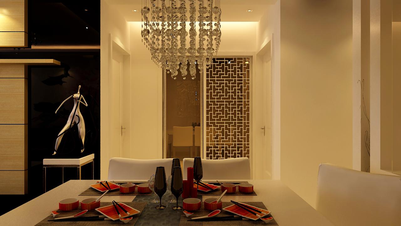 二居 简约 现代 餐厅图片来自实创装饰晶晶在97平二居室现代简约风格设计的分享