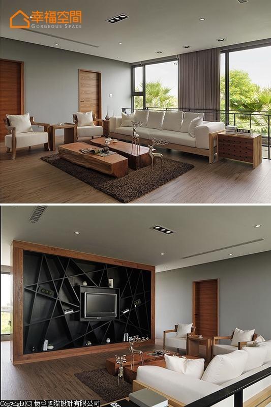 背倚枝头绿意的起居室,搭配漂流木茶几与木作框架沙发,在线条前卫的订制电视墙烘托下,闲情中带有设计感。