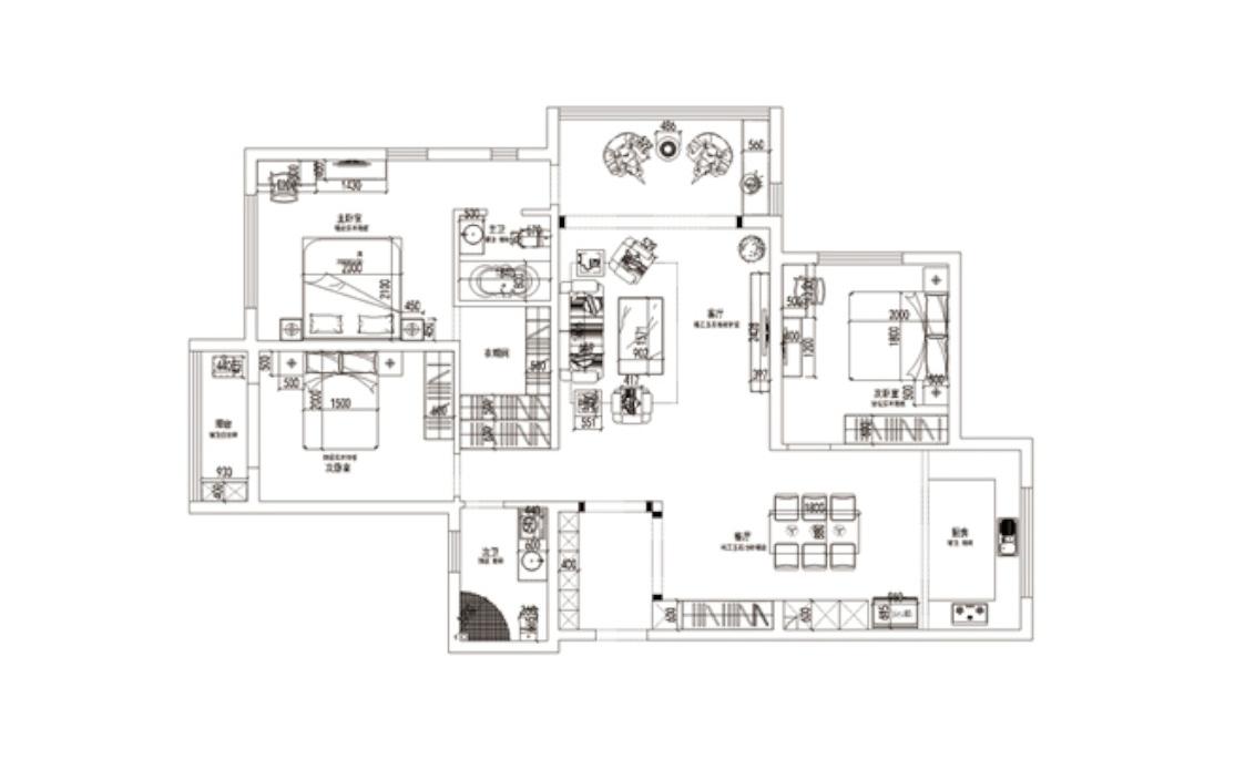 简约 欧式 三居 别墅 白领 收纳 80后 小资 户型图图片来自实创装饰百灵在现代醉西风125平米三居室的分享