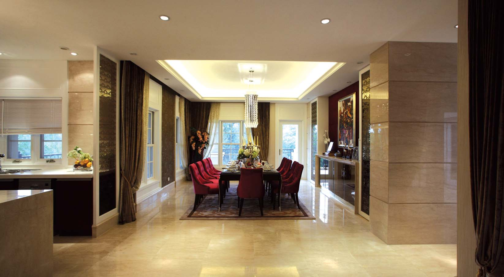 欧式 别墅装修 别墅设计 棕榈高尔夫 奥邦装饰 张文作品 餐厅图片来自上海奥邦装饰在上海棕榈高尔夫别墅样板间装修的分享