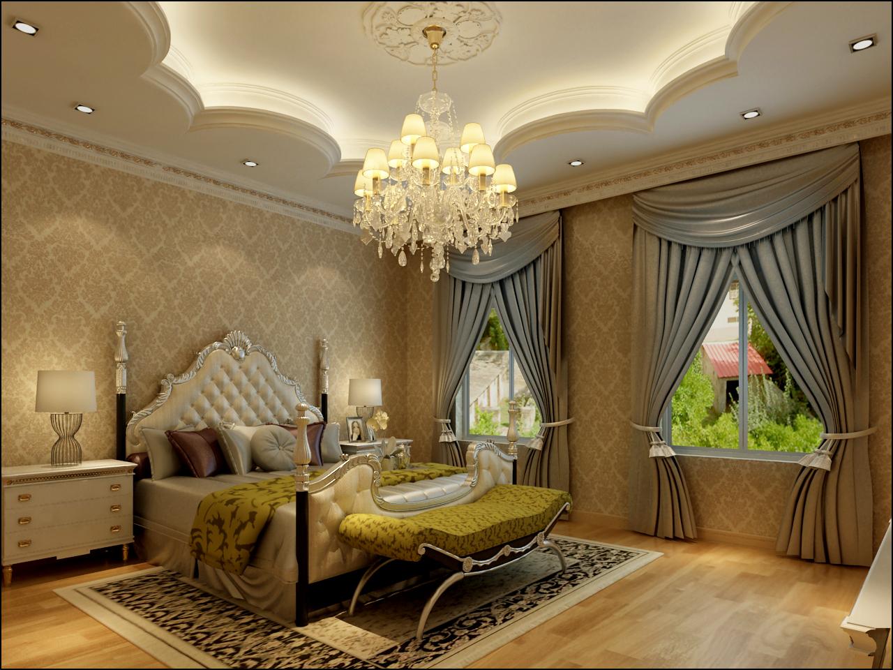 欧式风格 实创装饰 别墅装修 整体家装 卧室图片来自北京实创装饰在孔雀城235平米别墅欧式风格的分享