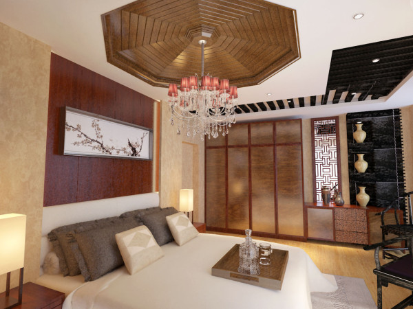 中式风格是以宫廷建筑为代表的中国古典建筑的室内装饰设计艺术风格,气势恢弘、壮丽华贵、高空间、大进深、雕梁画栋、金碧辉煌,造型讲究对称,色彩讲究对比装饰材料以木材为主