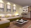 淡黄色的墙面漆,加上橄榄绿的沙发箱体,使整个客厅充满了温馨浪漫的气息。沙发墙上装上一组装饰画,使整个空间丰富起来。