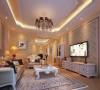 白色调为主,灯光运用暖色来烘托整体的氛围。客厅以华丽唯美的石膏线装饰,典雅的布艺沙发和精致的电视柜给人一种完美的法式浪漫风情的享受。