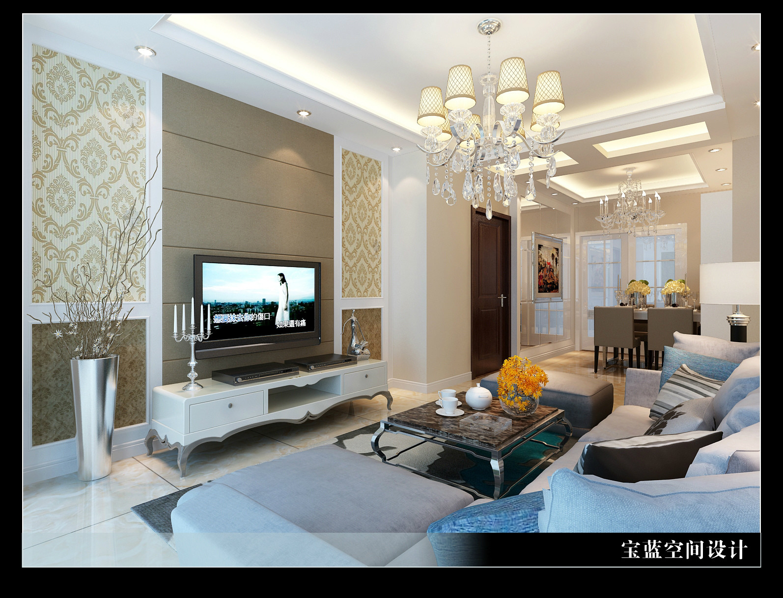 简欧 客厅图片来自众意装饰在汉口城市广场-简欧风格的分享