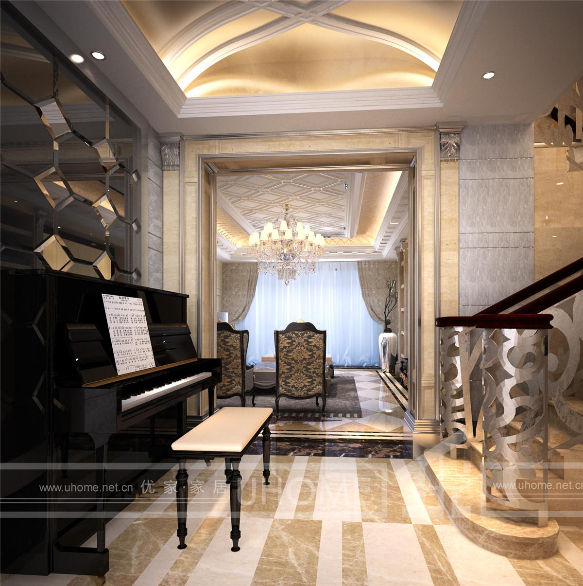 欧式 别墅装修 别墅设计 西郊半岛 奥邦装饰 楼梯图片来自上海奥邦装饰在西郊半岛别墅现代简约欧式风格的分享