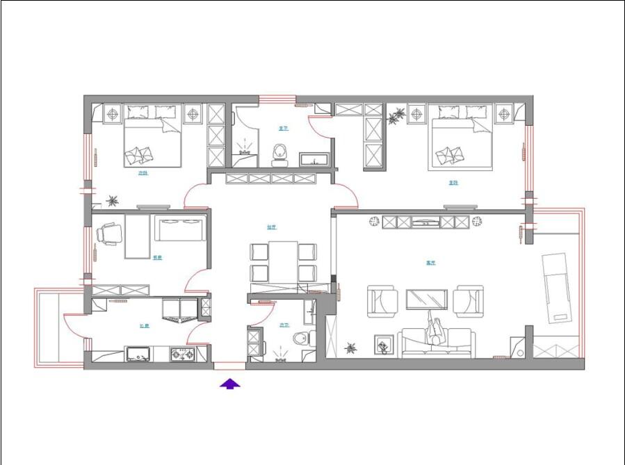 欧式风格 实创装饰 三居室装修 整体家装 户型图图片来自北京实创装饰在太仆寺街150平米欧式风格三居室的分享