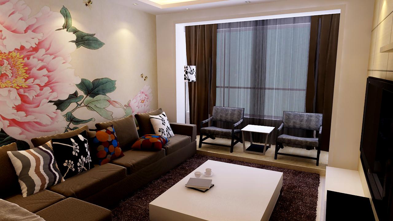 二居 简约 现代 客厅图片来自实创装饰晶晶在97平二居室现代简约风格设计的分享