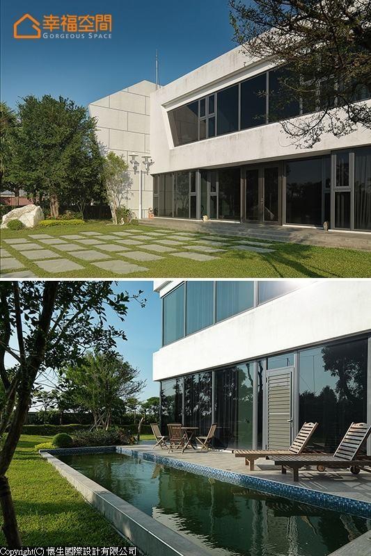 设计师在极简前卫的建筑体旁,另规划戏水玩乐的露台泳池。