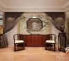 本设计的玄关采用中西结合设计,虚实结合, 设计师将玄关设计成立体造型,客厅和餐厅分隔,很通透,天花板采用极具现代感的直线吊顶造型,玄关采用漏窗, 很有创意,视觉上也是很古典的装修效果。