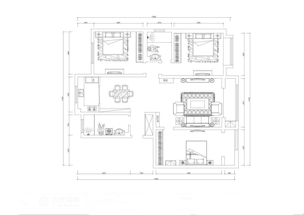 简约 欧式 三居 白领 收纳 旧房改造 80后 小资 户型图图片来自阳光力天装饰梦想家更爱家在亿城堂庭3室2厅150平米-欧式风格的分享