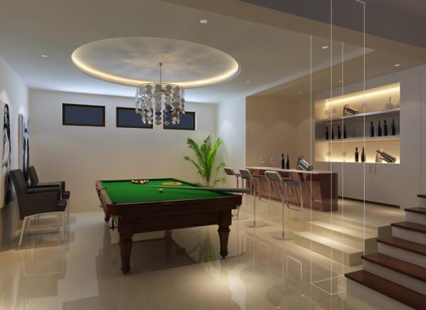 """位于地下室包含了会客、娱乐室喝酒吧等多重功能,为了让各种娱乐休闲功能空间充沛,因此采用了极简的装修设计,大胆的去掉多余装饰,诠释了""""少就是多""""的空间观念,高效的将活动室内的众多娱乐功能融为一体。"""