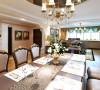 餐厅是家居生活的心脏,不仅要美观,更重要的实用性,整体性。餐厅的灯光很重要既不能太强又不能太弱,顶部镜面吊顶,增加了空间上下的延展性。
