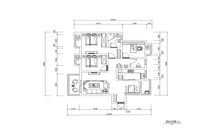 简约 美式 三居 白领 收纳 80后 小资 户型图图片来自实创装饰百灵在现代美式家装修117平米三居室的分享