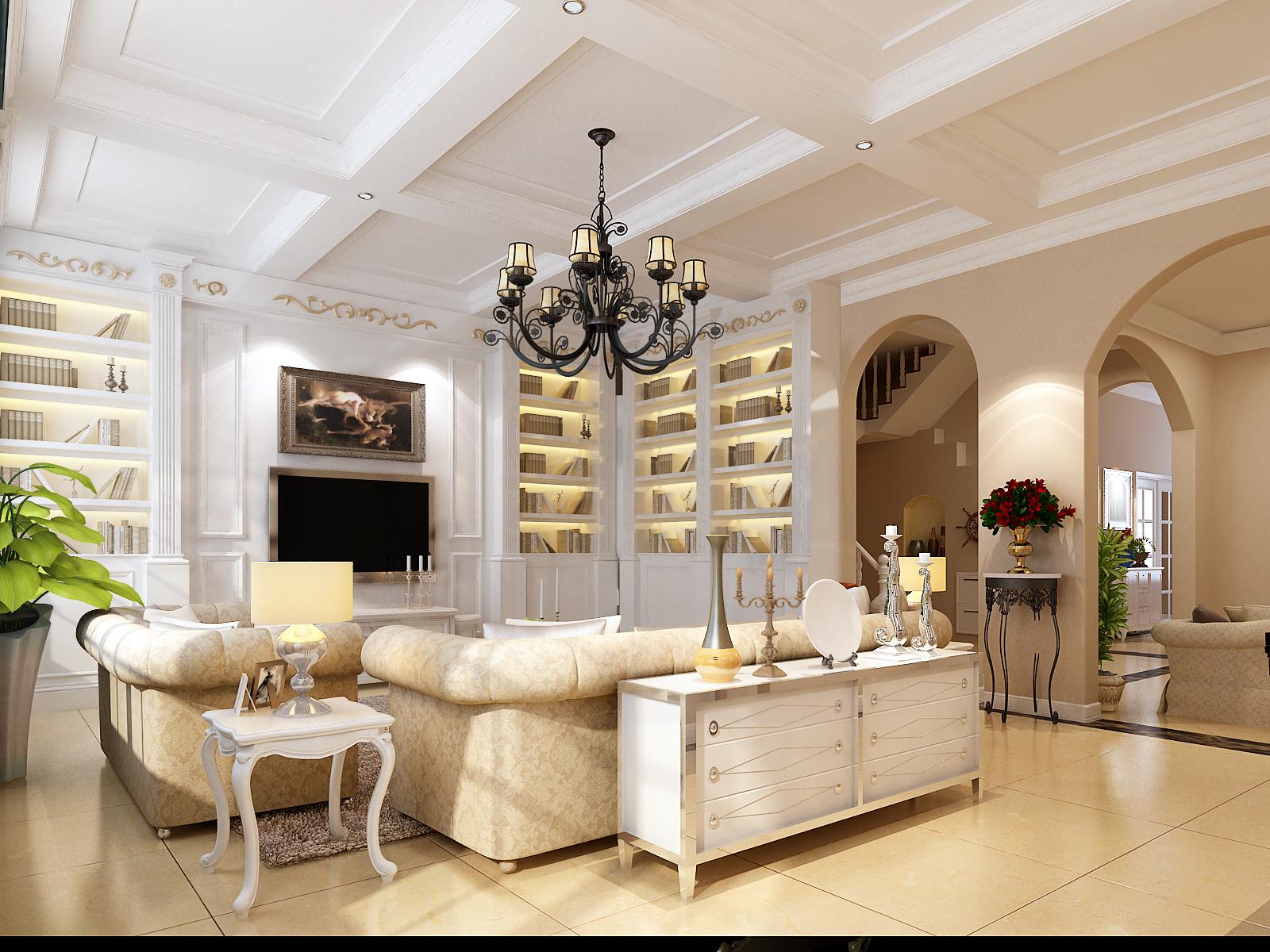 简欧风格 实创装饰 别墅装修 整体家装 客厅图片来自北京实创装饰在中海尚湖300平米别墅简欧风格的分享