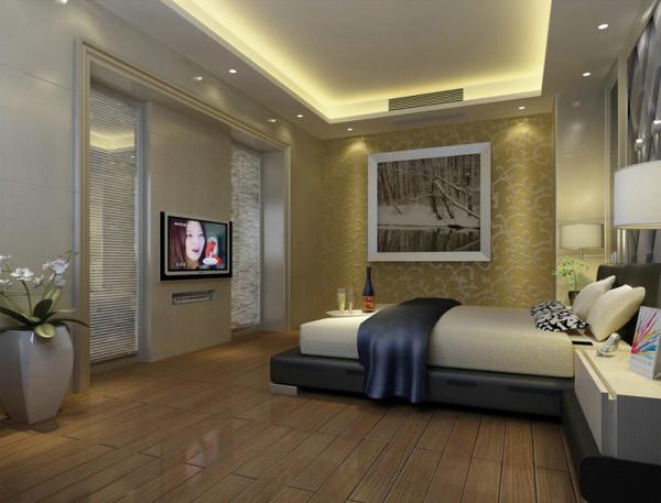 卧室在设计将原本不规则且略显零乱的天花加以简化整合,改变后的主卧空间呈上升之势,置身其中给人积极向上之感,表现业主对快乐人生的追求;