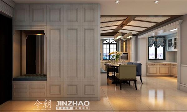 在入户门厅处做了一整组的鞋柜,通过鞋柜柜门的造型既突出了凹凸感,又突出欧式对线条的精细处理。