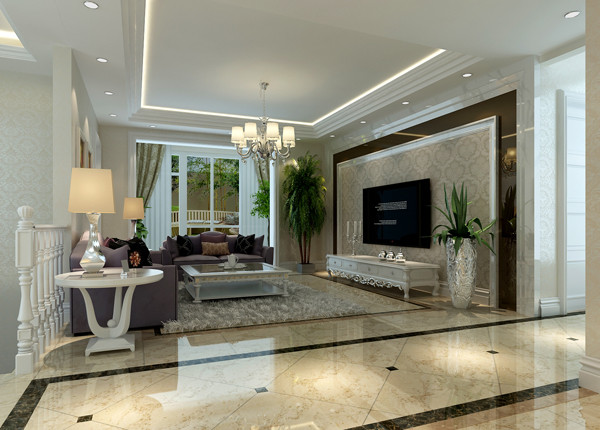 首开常青藤160平米户型客厅效果图