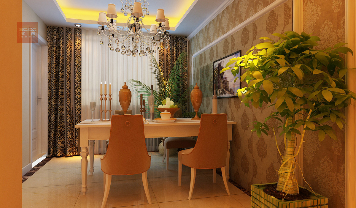 三居 欧式 绿城百合 百合花园 173平简欧f 餐厅图片来自实创装饰小辣椒在绿城百合花园173平简欧风格四居的分享
