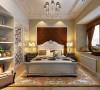 主卧背景墙采用软包与壁纸相结合,配上欧式的床,彰显主人尊贵的身份。外飘窗利用的是不是也很好呢,铺上石台后,上面放下茶台,铺上圆垫,喝个下午茶,很是惬意。