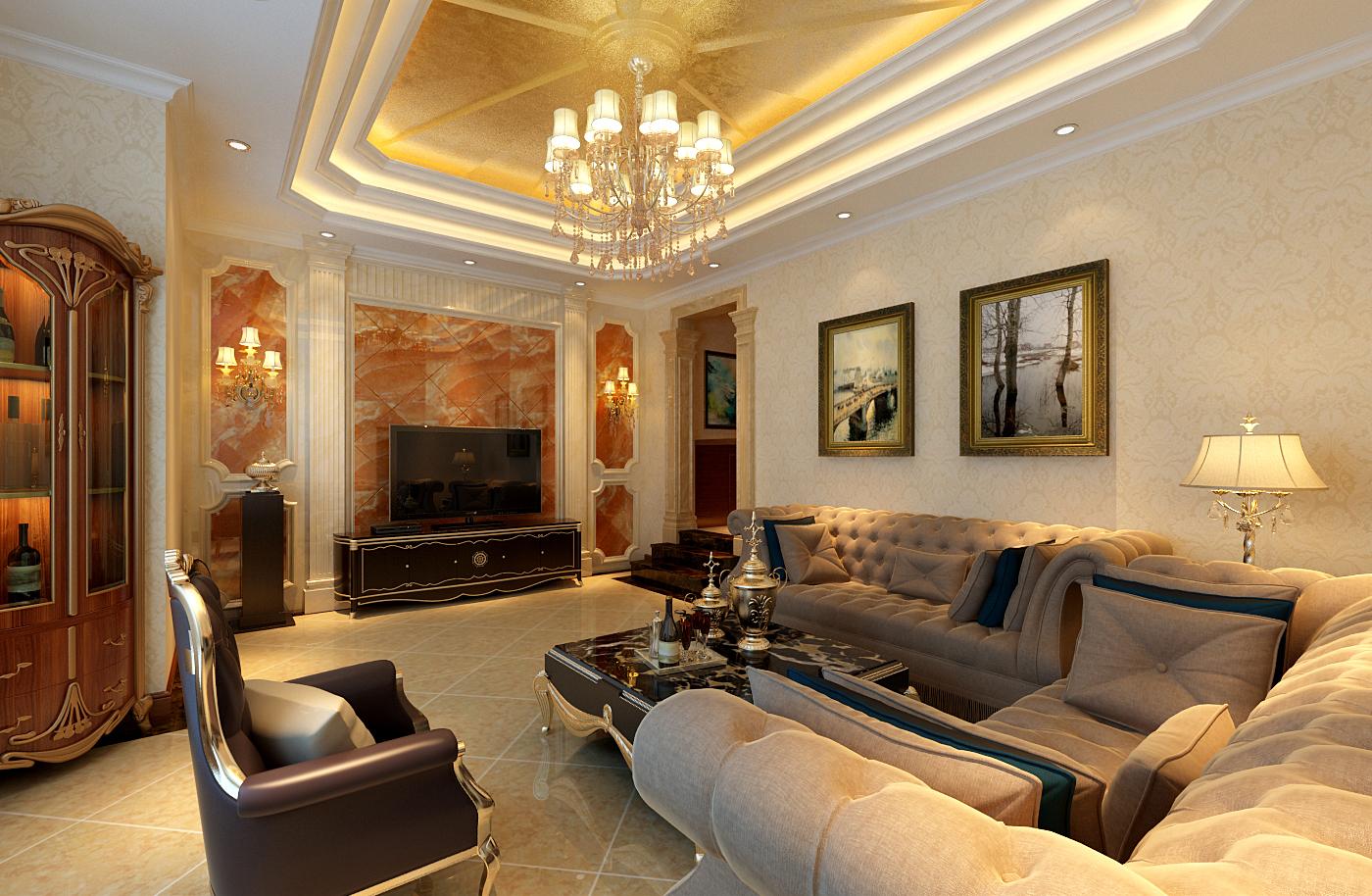 简约 欧式 别墅 白领 收纳 80后 小资 客厅图片来自实创装饰百灵在欧郡香水城装修345平米新古典的分享