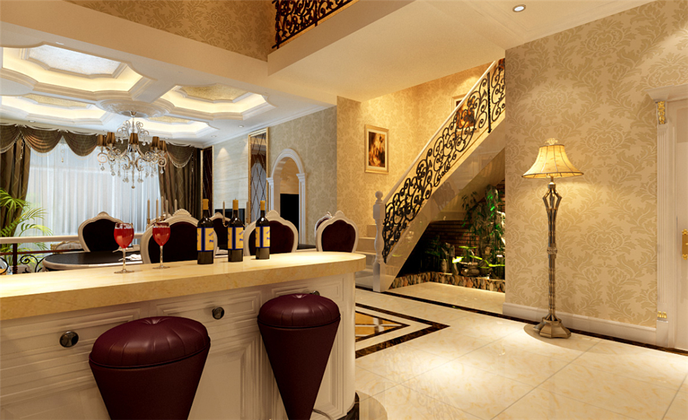 欧式 三居 白领 收纳 别墅 80后 小资 楼梯图片来自实创装饰完美家装在孔雀城欧式奢华演绎大宅精彩生活的分享
