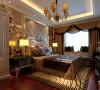 设计理念:作为婚房使用,卧室即不能走失新古典的风格,又不能脱离整体色调,同时还要有新婚的喜庆感。