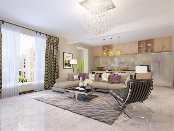 客厅空间讲究精巧丰富,整个地面通铺800*800的地砖,开敞式的中厨房让空间更加丰富多彩,巧妙的利用了空间。客厅电视背景墙为两边雕花镜面与中间白色大理石结合的造型为主,使空间很简洁、大方,富有节奏韵律。