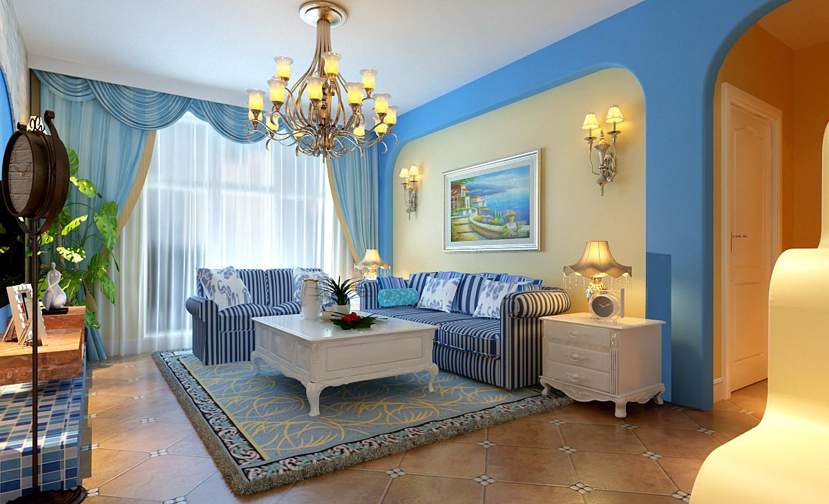 地中海风格 两居 小资 客厅图片来自实创装饰上海公司在中国蓝-蓝色经典的分享