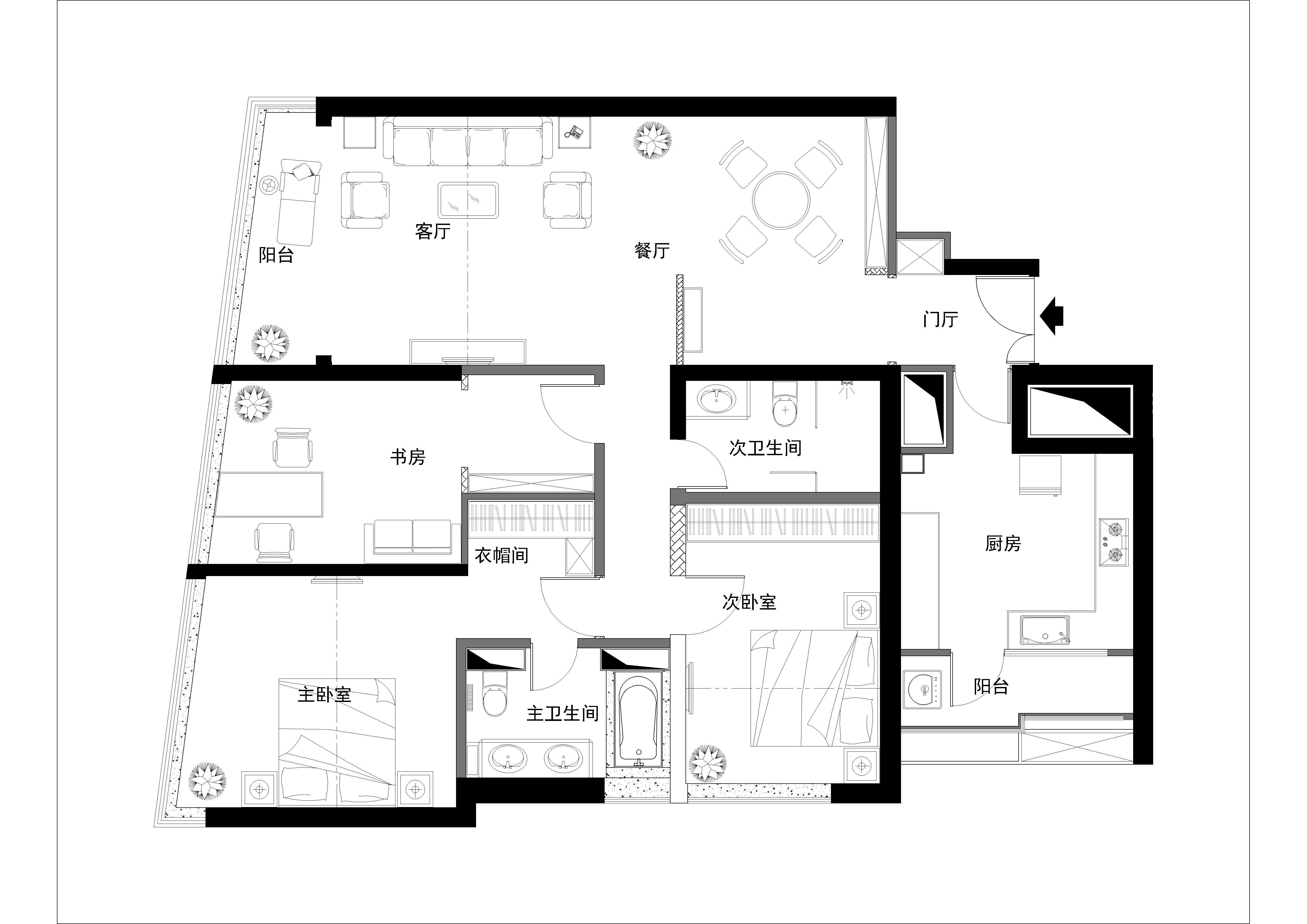 简约 欧式 二居 白领 收纳 旧房改造 80后 小资 户型图图片来自实创装饰百灵在新城国际120平米简欧风格装修的分享