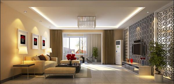 此户型设计为简约风格。设计以极简为主,客厅背景墙采用灰色的墙纸和镂花的屏风,使空间凸显的宁静,冷色系的墙纸让空间远离闹事区的喧闹。让主人在百忙之中有一块远离都市安宁的生活空间。