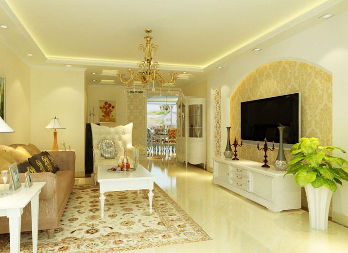客厅旁正好布置下钢琴,顶面的直线造型,电视墙采用时下最流行的欧式雕花衔接上弧型造型,让欧式风格在整个居室体现得淋漓尽致。