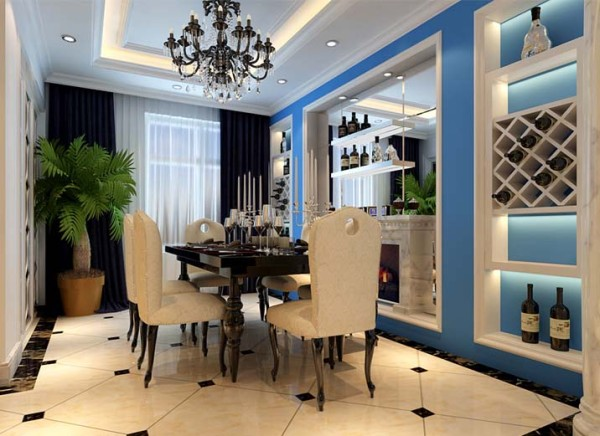 餐厅设计地面采用石材拼花,用石材天然的纹理和自然的色彩来修饰人工的痕迹。使客厅和餐厅的那种奢华、档次和品位毫无保留地流淌。壁炉的线条更加简洁,直线造型沿用古典的装饰纹样,把护墙板的形式简化到极致。