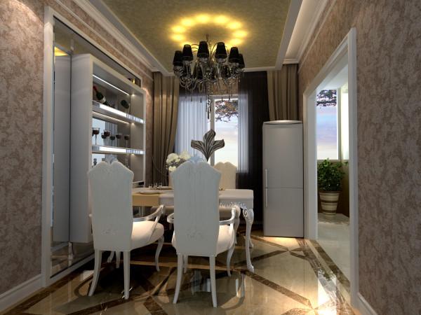 餐厅的整体空间不是很大,且只有那么一个小窗户,整体显得灰暗,所以用切边玻璃来改变餐厅的格局,厨房为开放式厨房,哑口和切边玻璃的收边结合。整个餐厅的壁纸,增添了餐厅的温馨浪漫。